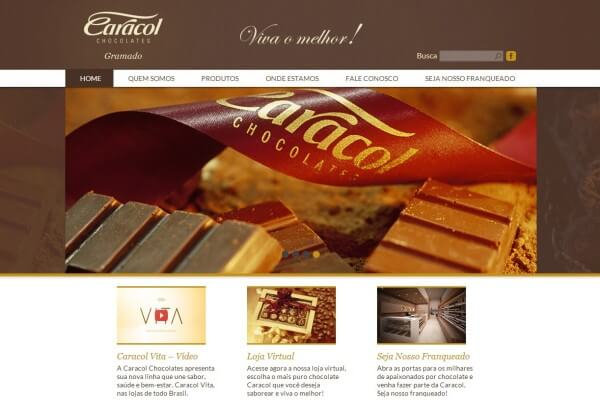 Novo Site Caracol Chocolates